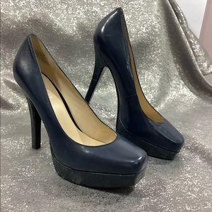 🌍Nine West 8 Leather Blue Platform Pump Heels 🌍